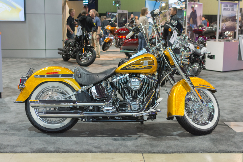 Long Beach, USA - November 20, 2015: Harley Davidson Flstn Softail Deluxe on display during Progressive International Motorcycle Show.