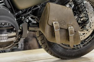 Brno,Czech Republic - March 4,2016 : Close-up of leather single-sided svingarm bag of motorcycle Harley Davidson Softail Slim S on International Fair for Motorcycles on March 4,2016 in Brno in Czech Republic
